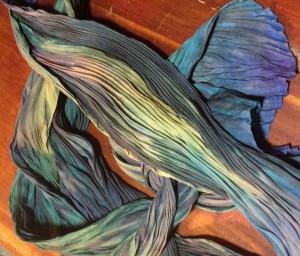 Shibori dyed silk SlowYarn.com