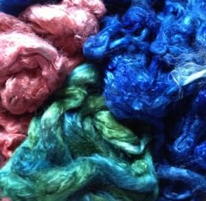 dyed soy silk fiber