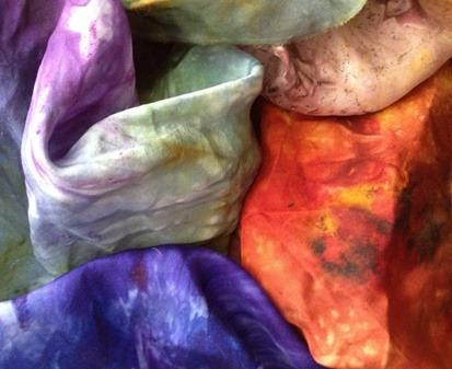 Hand dyed habotai silk fabrics SlowYarn.com