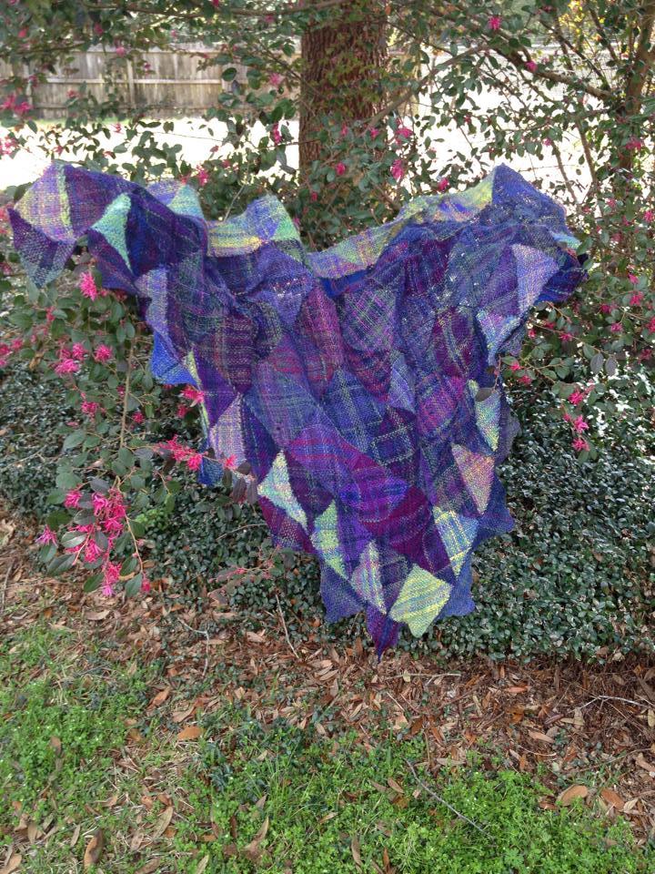triangle woven shawl from handspun yarn