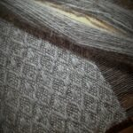 dog wool woven scarf on loom
