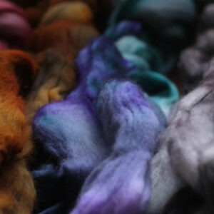 dyed merino roving from The Woolery