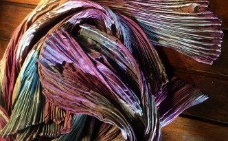 shibori tie dye techniques arashi pleated silk scarf natural dyes indigo