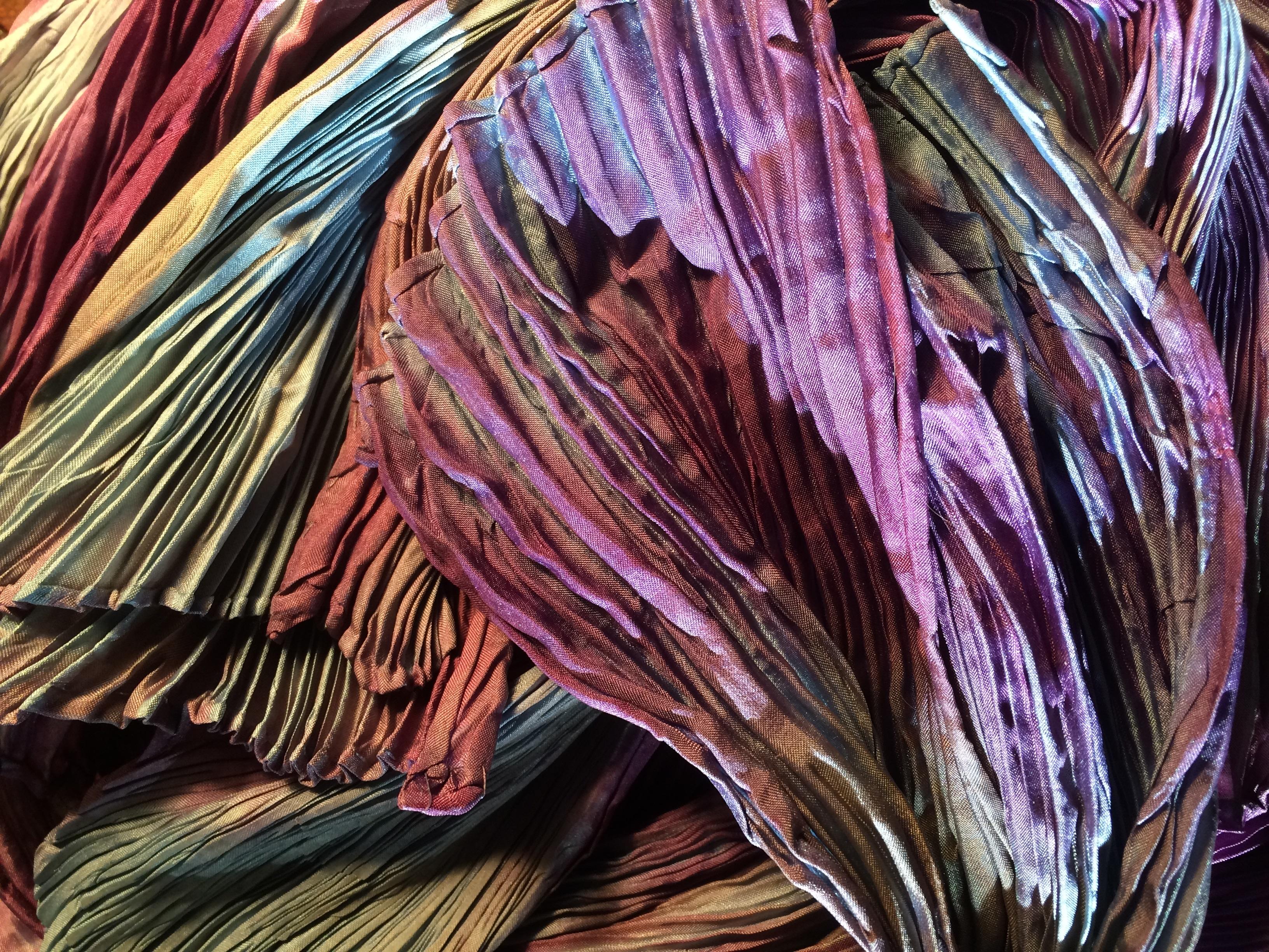 natural dyed shibori silk scarves