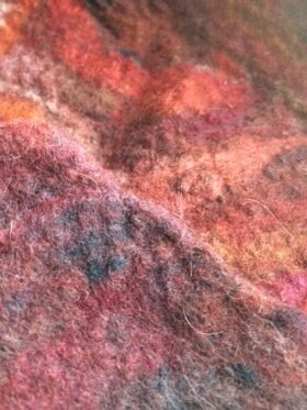 merino hand made felt with long fibers and with short waste fibers