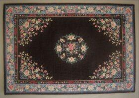 petit point miniature Oriental carpet worked on silk gauze