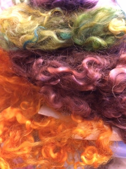 kid mohair locks dyed