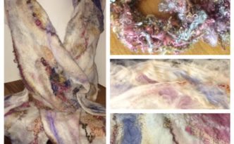 Nuno felted scarf in cream beige rose and lavender