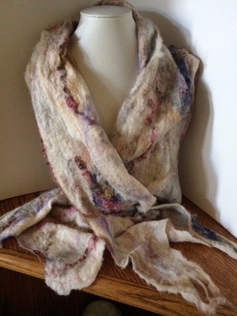Nuno felted scarf in cream rose beige and lavender