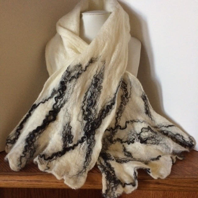 handmade felted wool scarf with polyester and silk embellishments