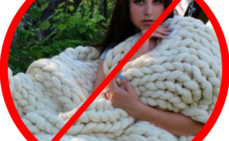 fake wool blanket chunky arm knitting bulky blanket fail